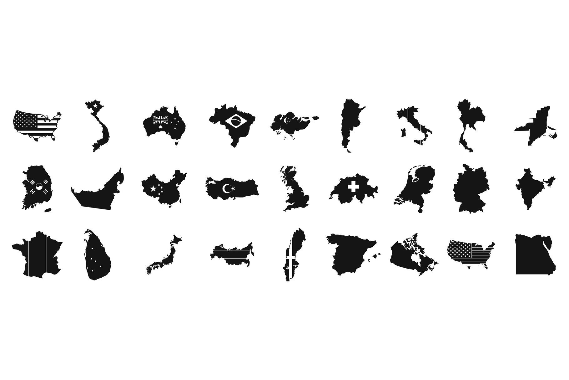 Landmark icon set, simple style example image 1