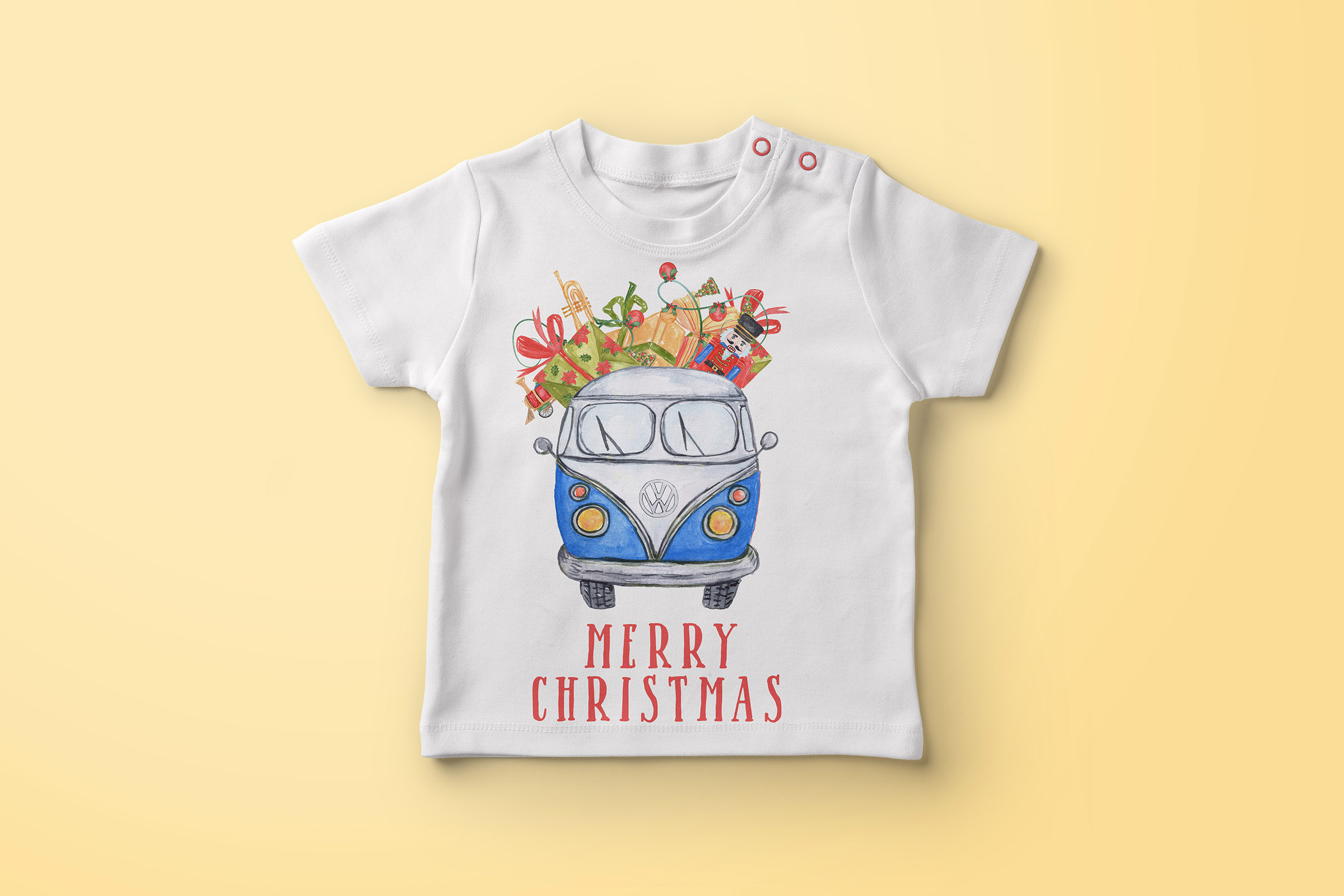 Watercolor Christmas Cars clipart example image 5