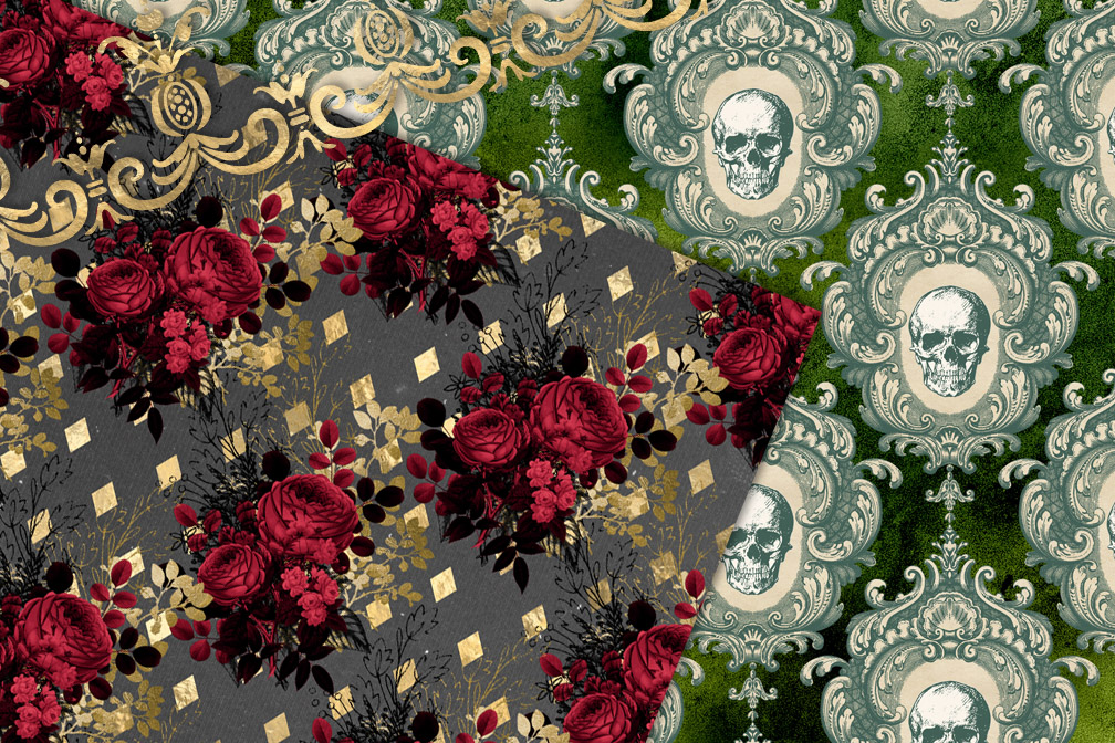 Gothic Christmas Digital Paper example image 3
