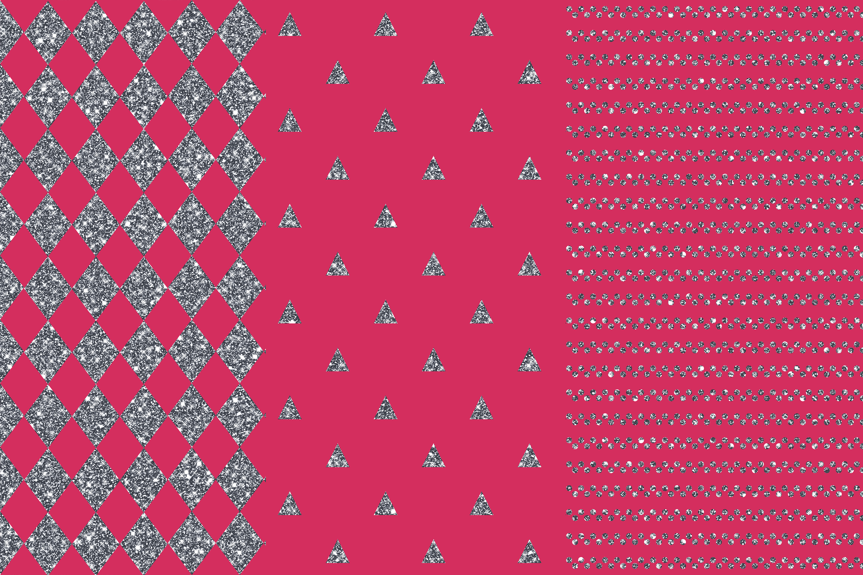Pink Silver Seamless Patterns, Silver Wedding Digital Papers example image 2