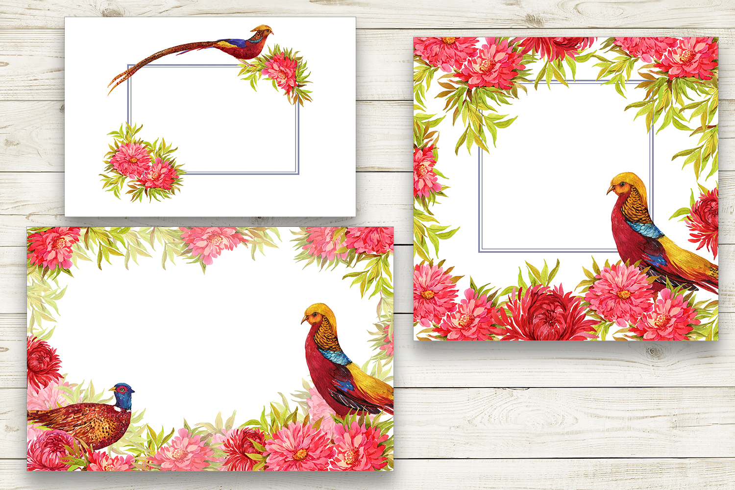 Pheasants, birds and flowers example image 3