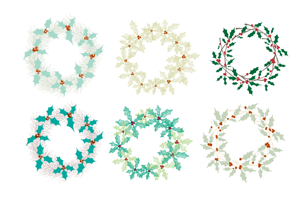 Set of Christmas wreaths example image 4