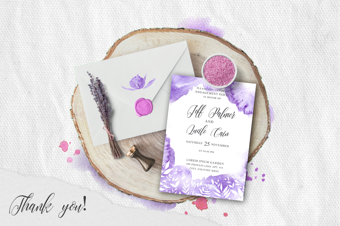 Gentle purple Watercolor Spring Wedding Invitation suite example image 5