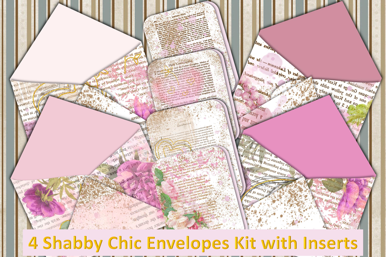 4 Shabby Chic Envelopes with inserts Ephemera example image 1