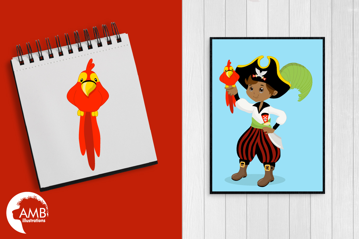 Pirate boys, African American Pirate clipart, graphics and illustrations AMB-174 example image 3