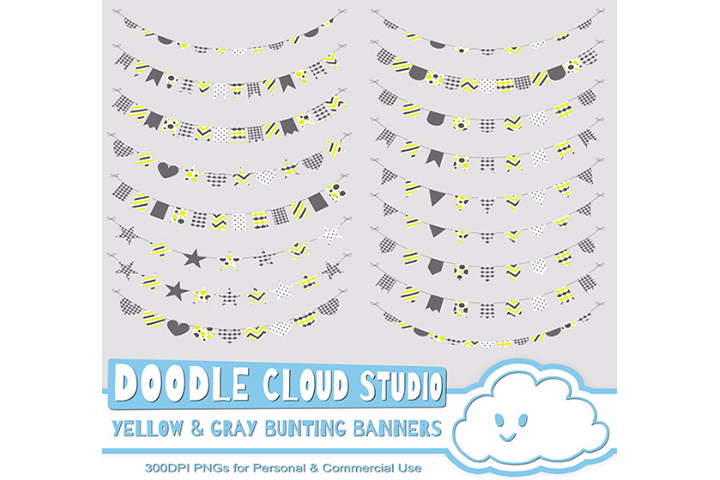 Yellow & Gray Patterns Bunting Banners Cliparts Pack, pattered flags, transparent Background, Instant Download, Personal and Commercial Use example image 2