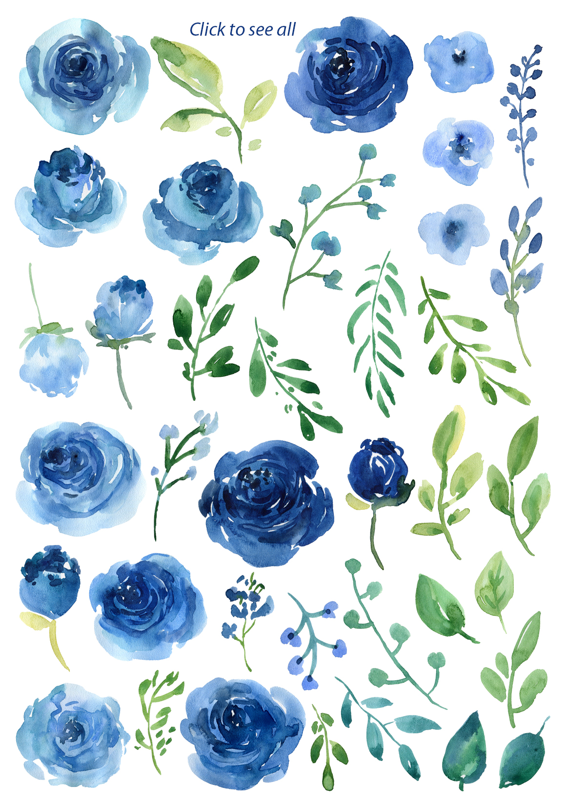 Blue Watercolor Roses Flowers Leaves example image 3