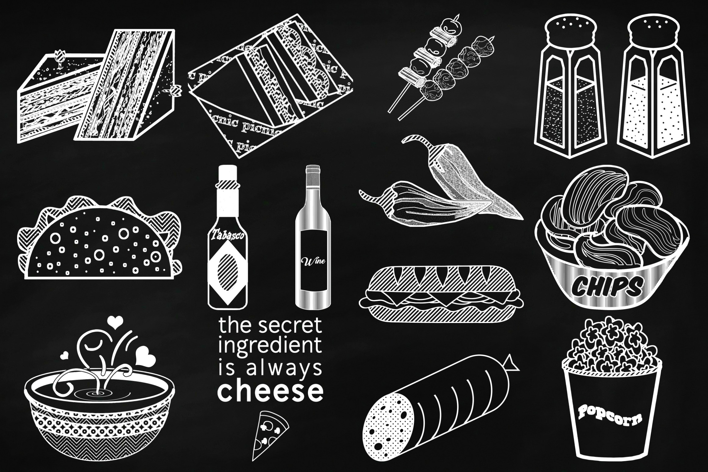 Chalk Savory Food Doodles Clip Art example image 5