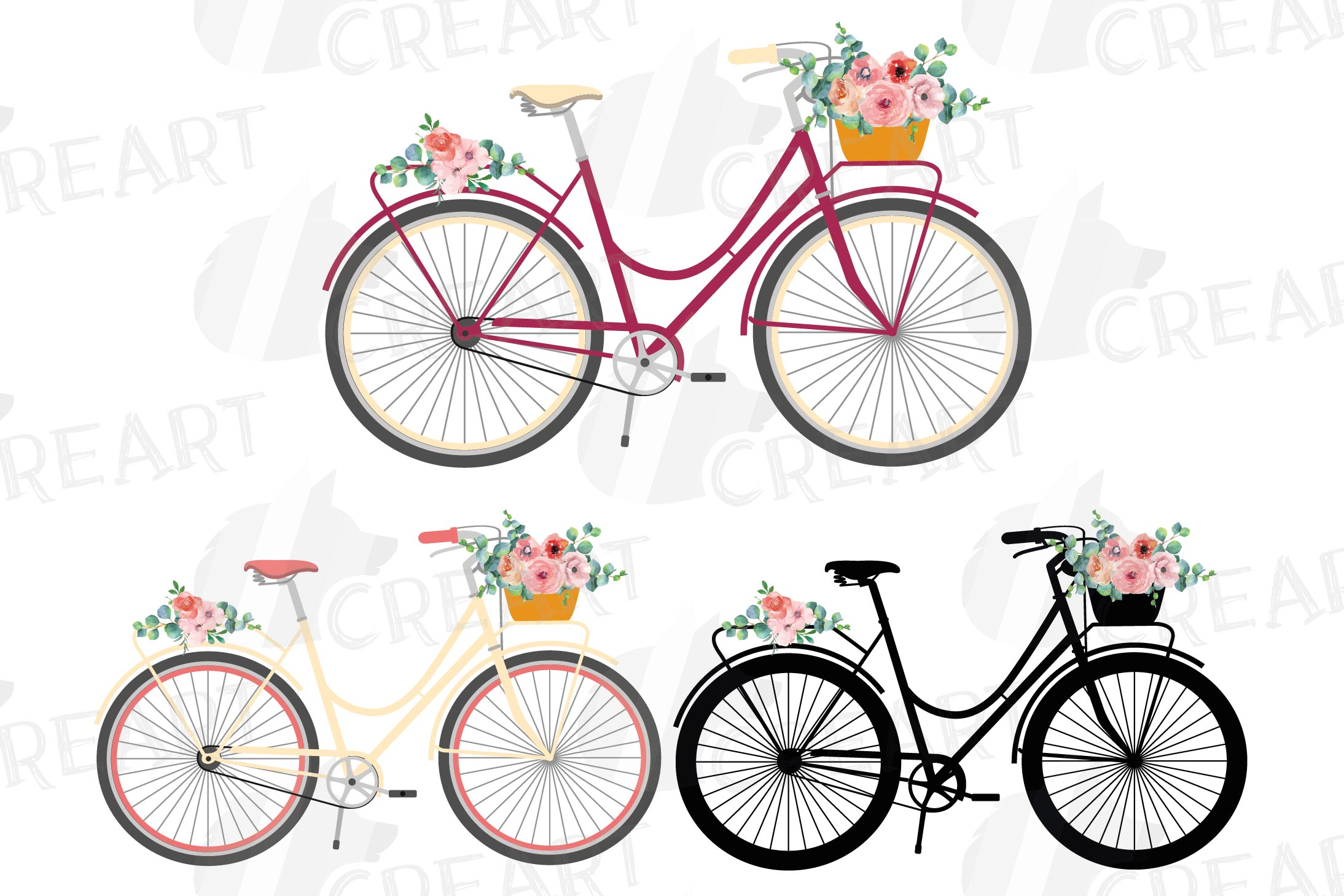 Floral bicycles clip art pack, blush floral and eucalyptus example image 1