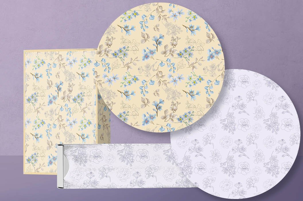 Powder blue watercolor floral patterns example image 4