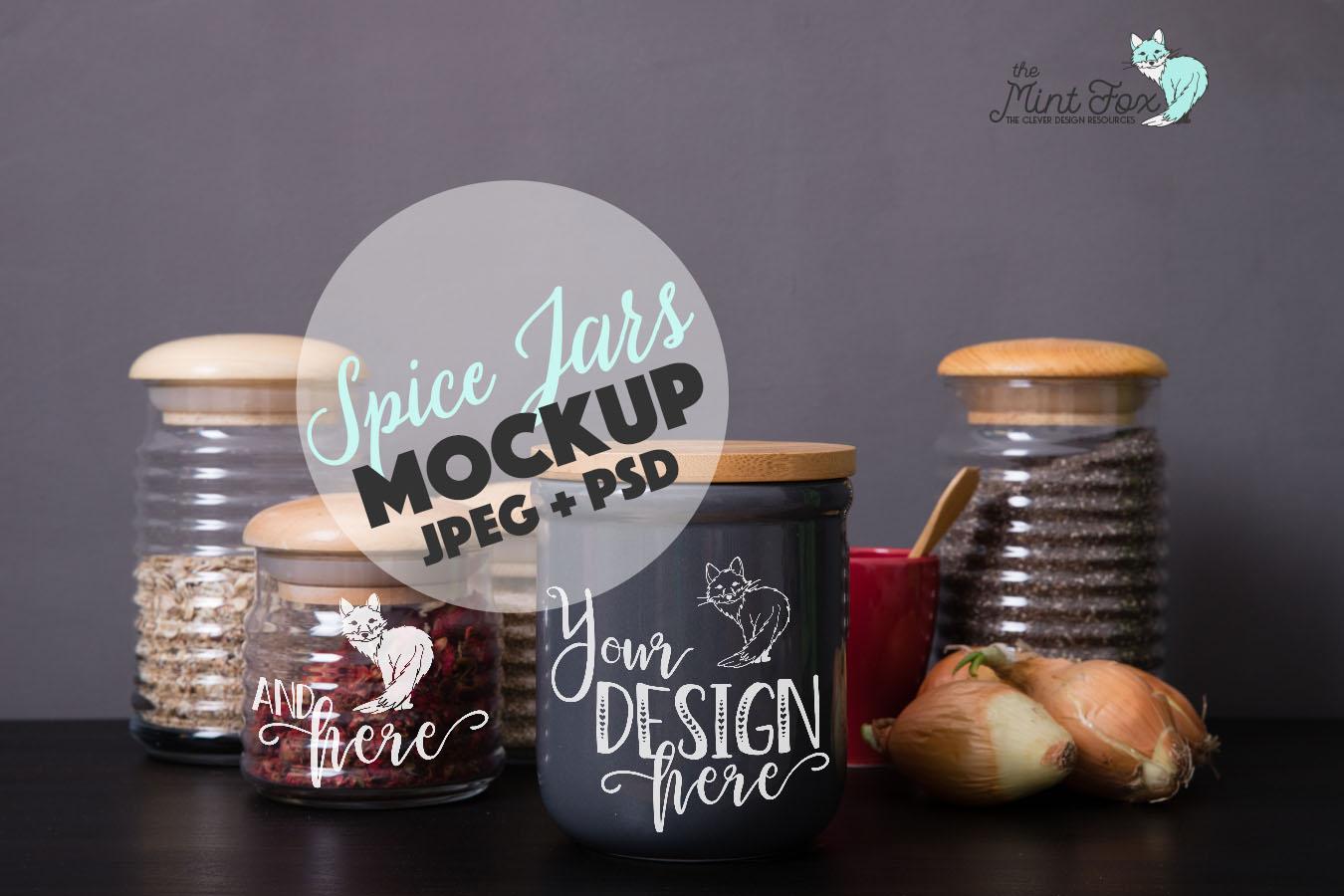 Spice Jars Mockup | PSD & JPG Kitchen Jar Mock Up example image 1