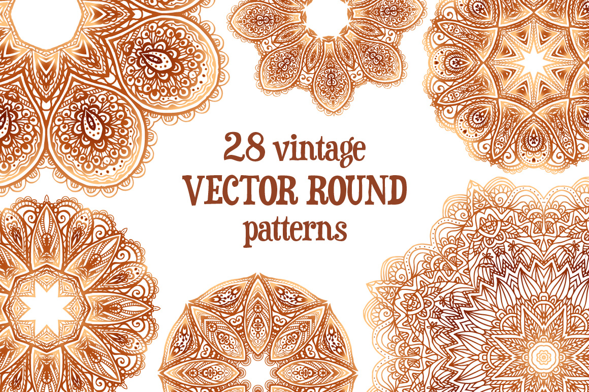 Set of 28 vintage round patterns example image 1