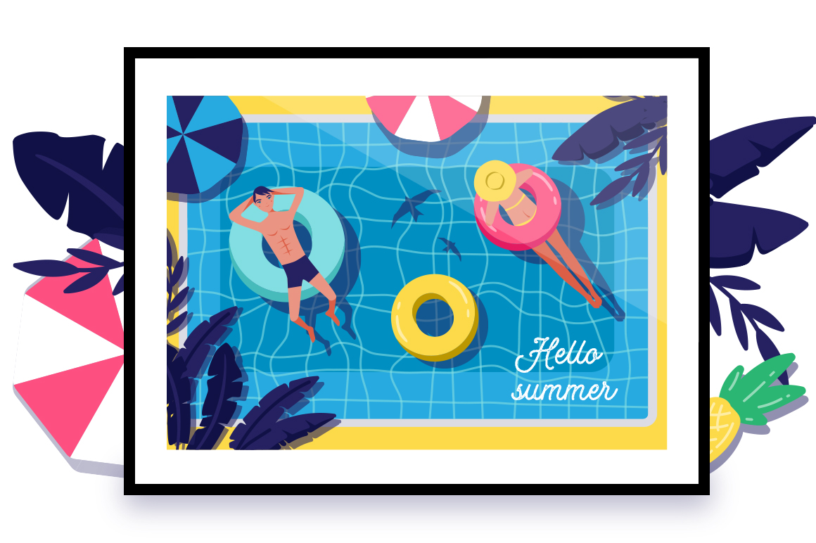 Summer pool - vector set example image 3