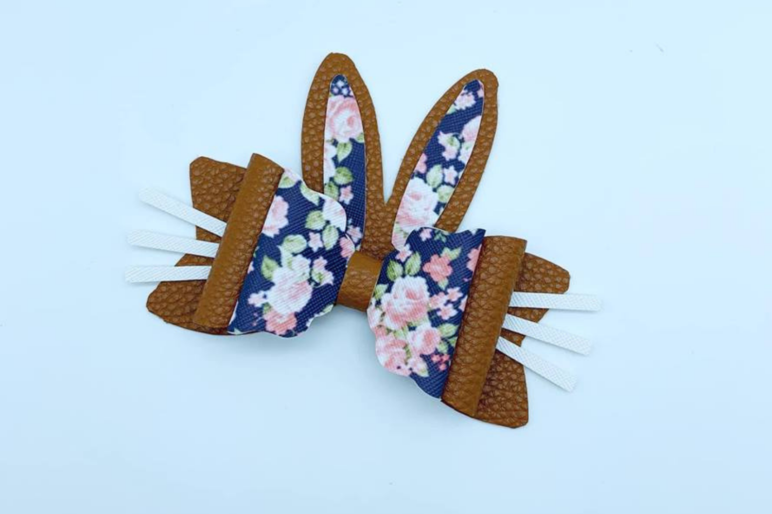 Hair bow - Faux leather diy project Bunny ear hair bows - example image 4