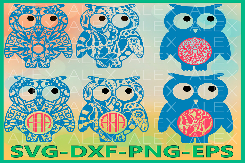Owl Svg Files, Owls Monogram, Owl Mandala Svg, Owl Zentangle example image 1
