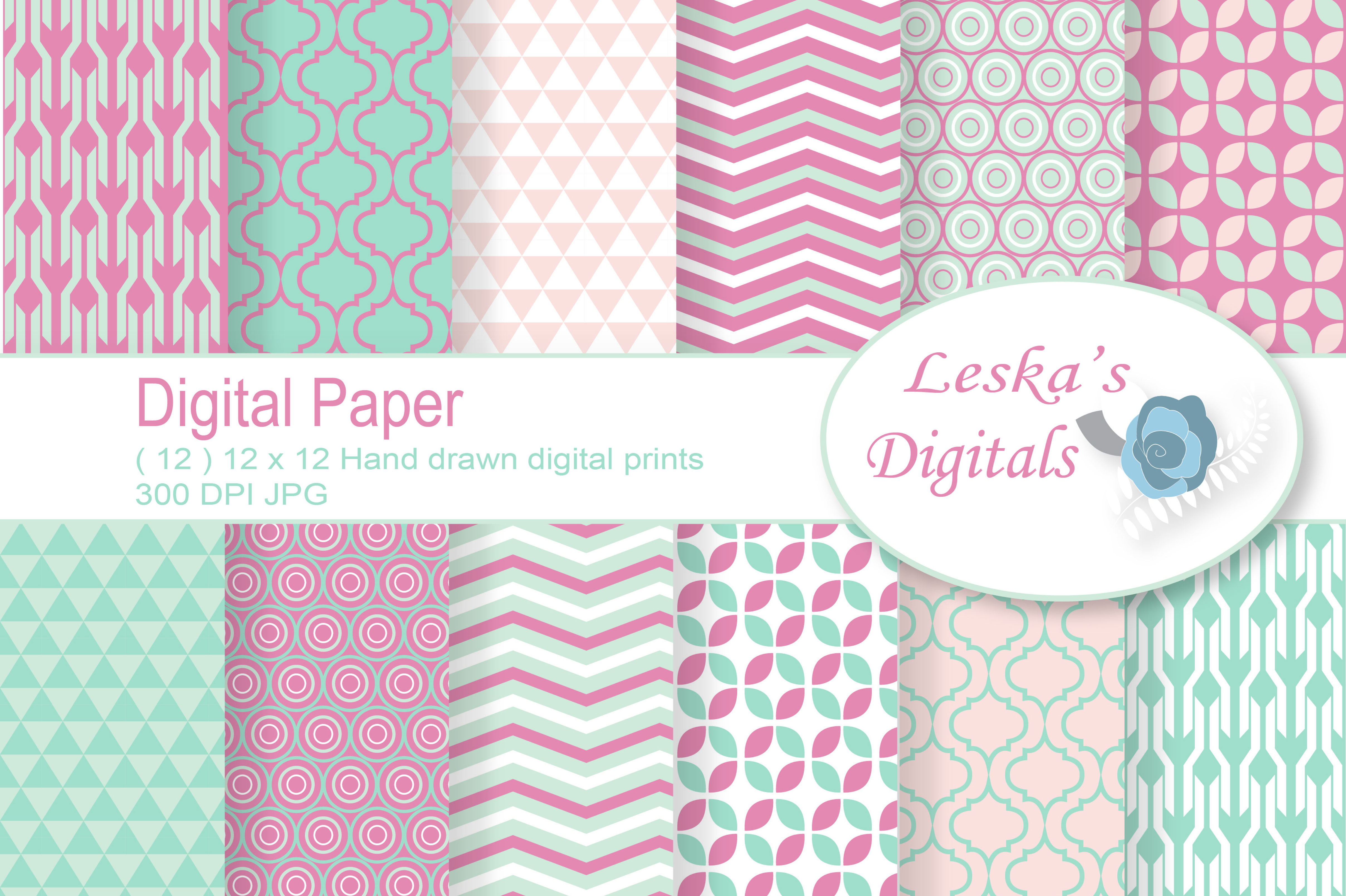 Geometric Digital Paper Patterns example image 1