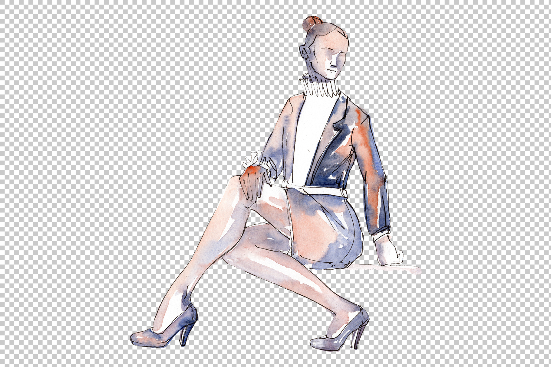 Fashion trends Watercolor png example image 6