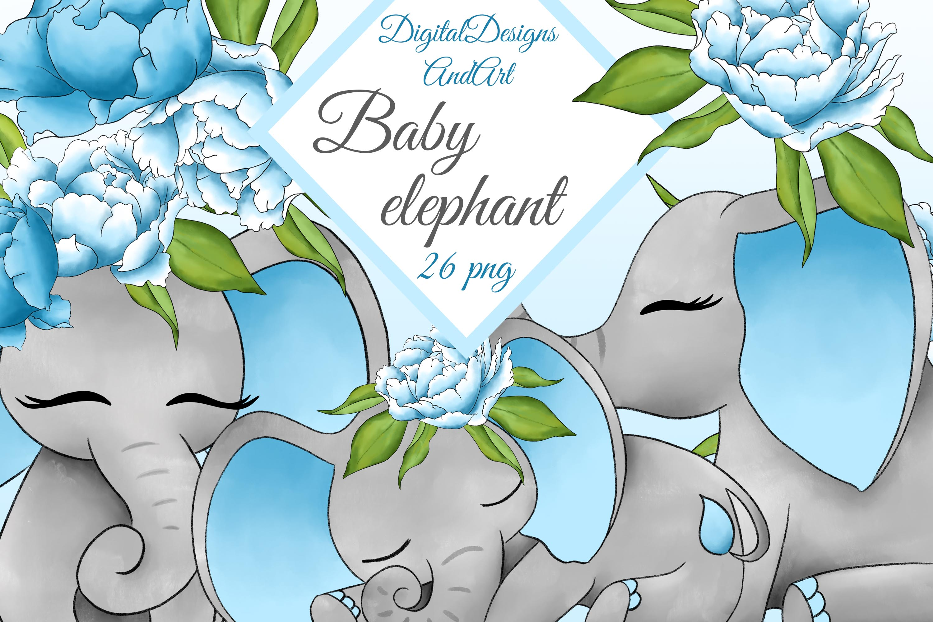 Baby elephant clipart example image 1