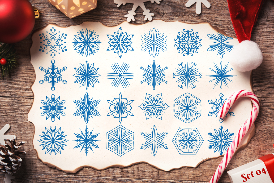 500 Snowflake Vector Ornaments example image 8