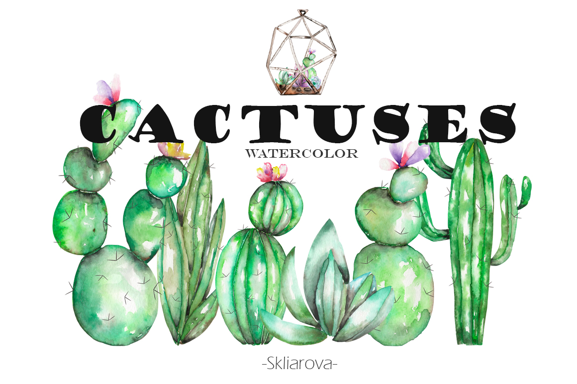 Watercolor Cactuses clipart example image 1