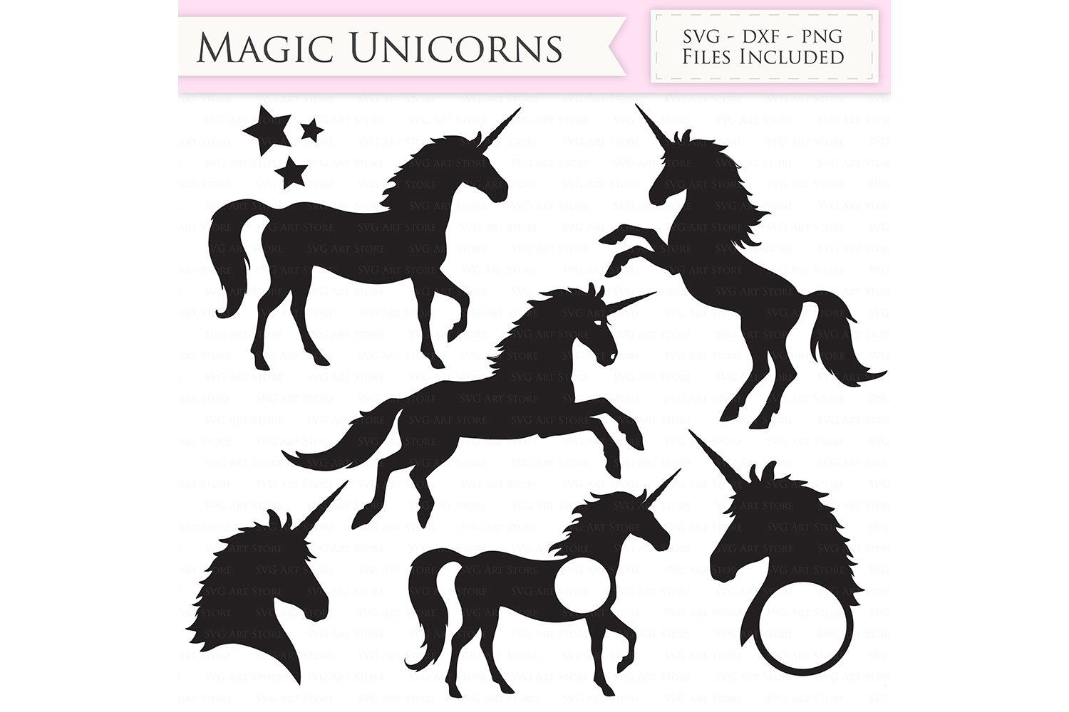 Magic Unicorns SVG Files - Jumping Unicorns, Unicorn head monogram cut files for Cricut and Silhouette - SVG, dxf, png, jpg files Included example image 1