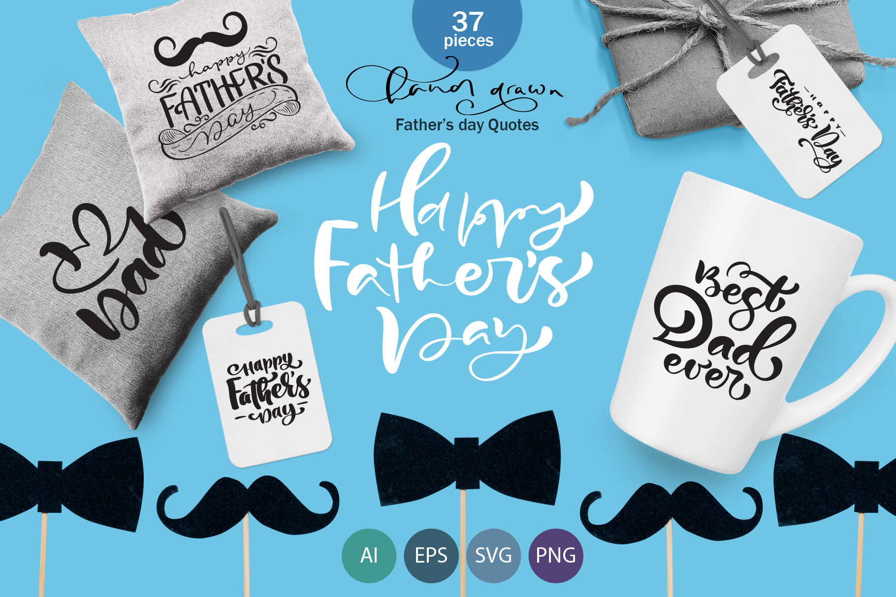 Fathers Day vector SVG greeting quotes example image 1