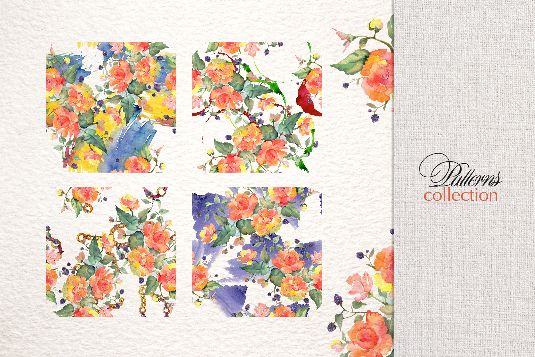 Bouquet with orange roses Watercolor png example image 3