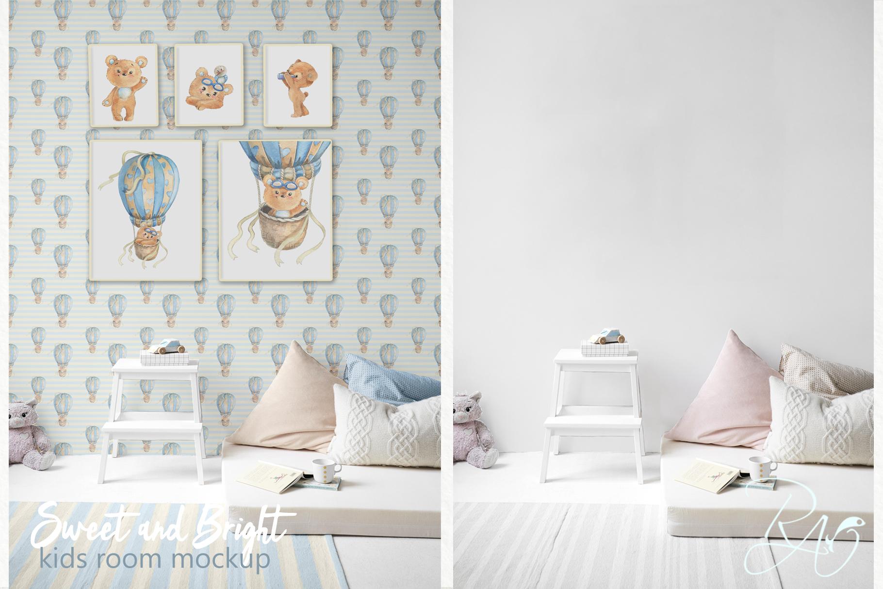 PSD Nursery mockup Kids room mockup Blank wall Print mockup example image 1
