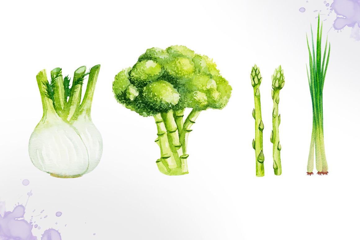 Watercolor vegetables example image 6