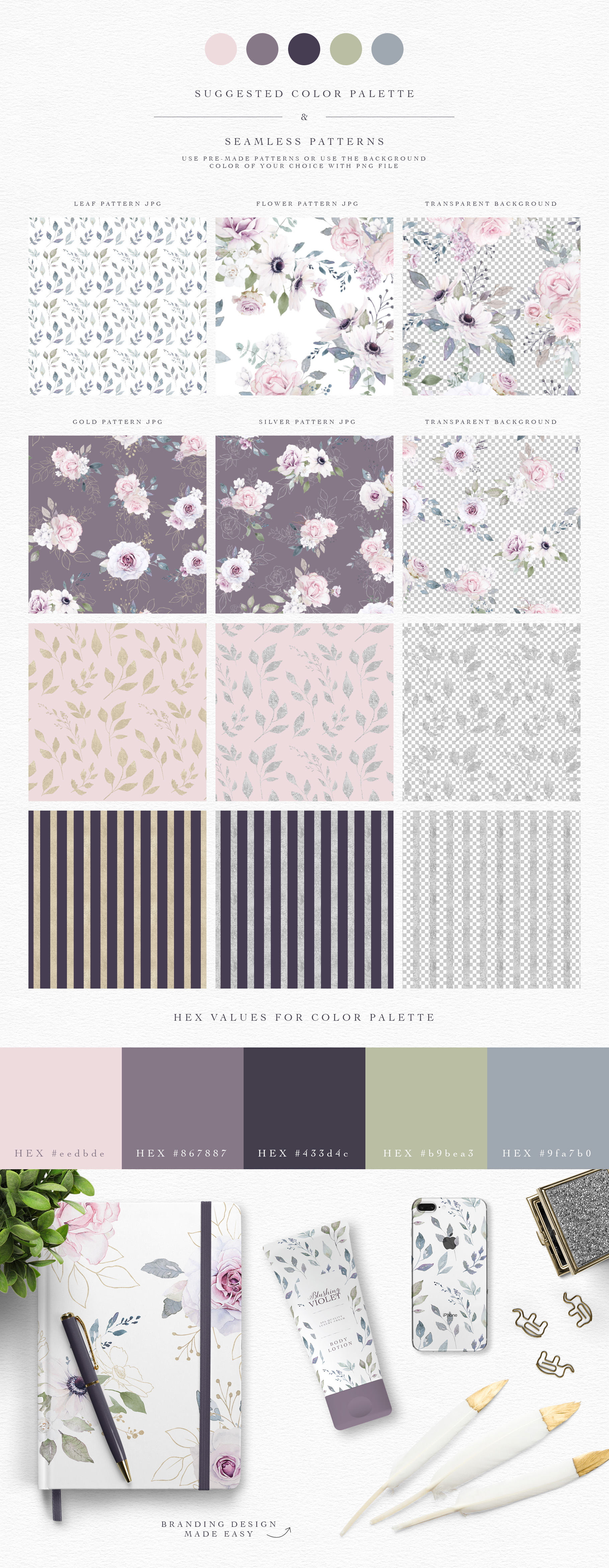 Blushing Violet Watercolor Clipart Collection example image 10