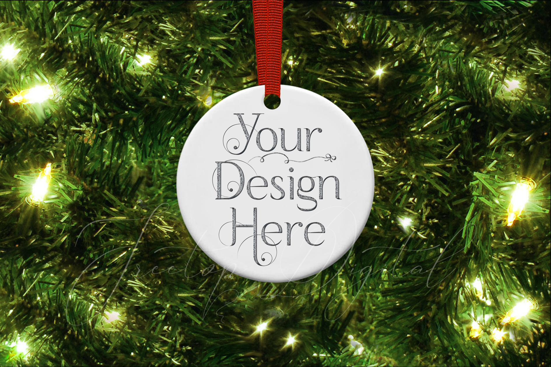 Round Christmas Ornament Mockup, Bauble Mock- Up, JPG example image 2