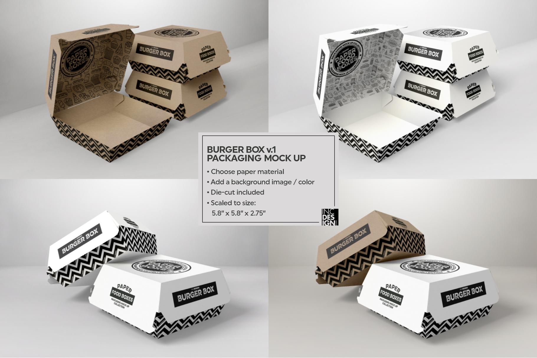 Burger Box Packaging Mock Up v1 example image 2