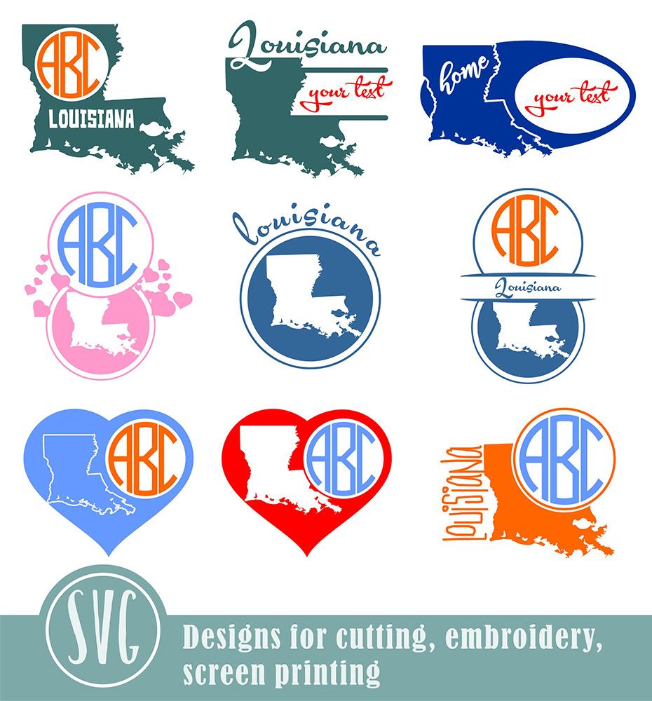 Louisiana Monograms SVG, JPG, PNG, DWG, CDR, EPS, AI example image 2