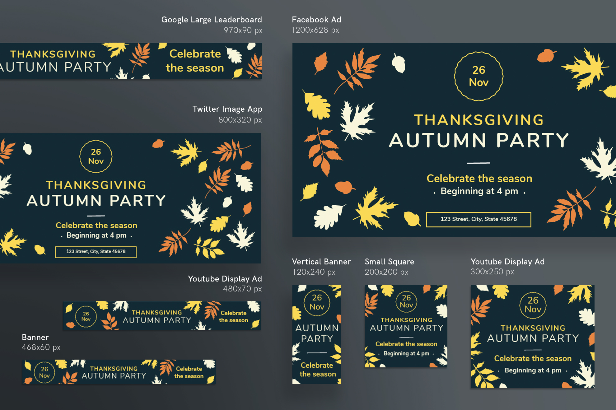 Thanksgiving Autumn Party Design Templates Bundle example image 6