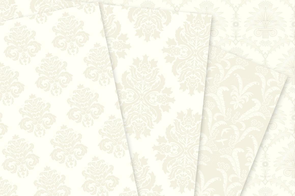 28 Ivory Damask Patterns - Wedding Seamless Digital Papers Bundle example image 8
