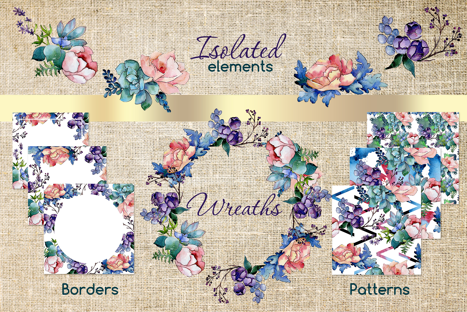 Watercolor bouquet PNG flower set example image 3