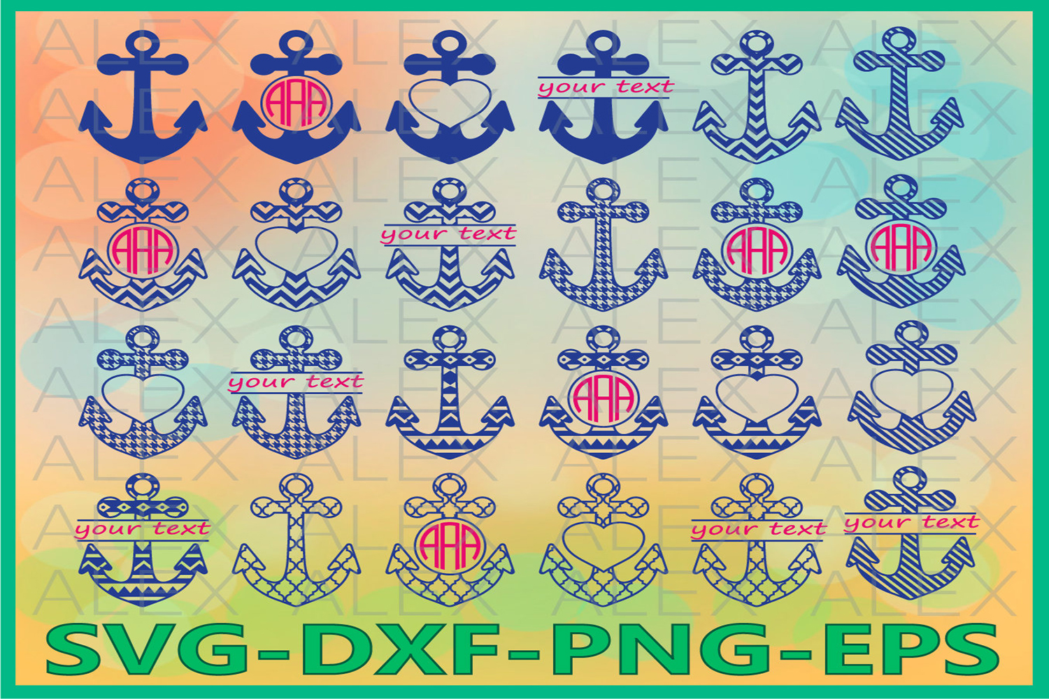 Anchor SVG Files, Anchors Monogram Svg Files example image 1