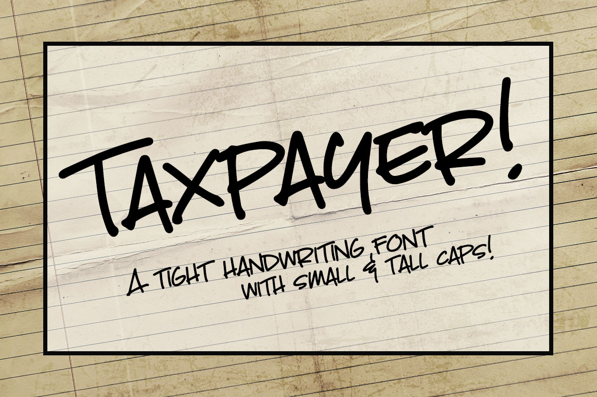 Taxpayer my own handwriting font! example image 1