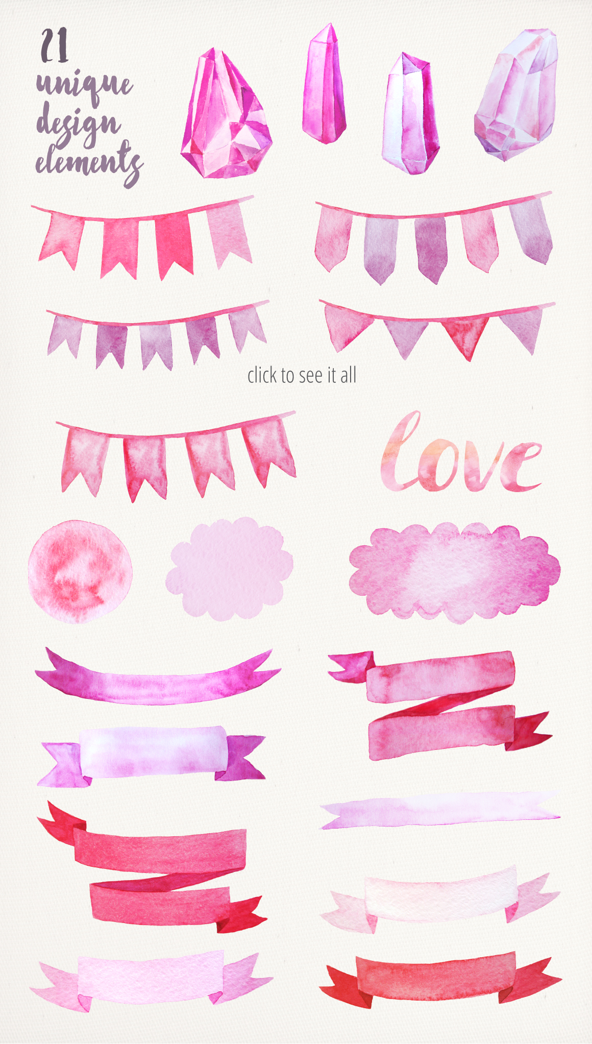Watercolor Valentine's Day BUNDLE example image 4