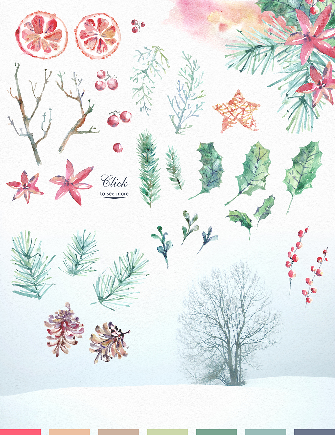 Cozy CHRISTMAS. Watercolor graphic kit. example image 9