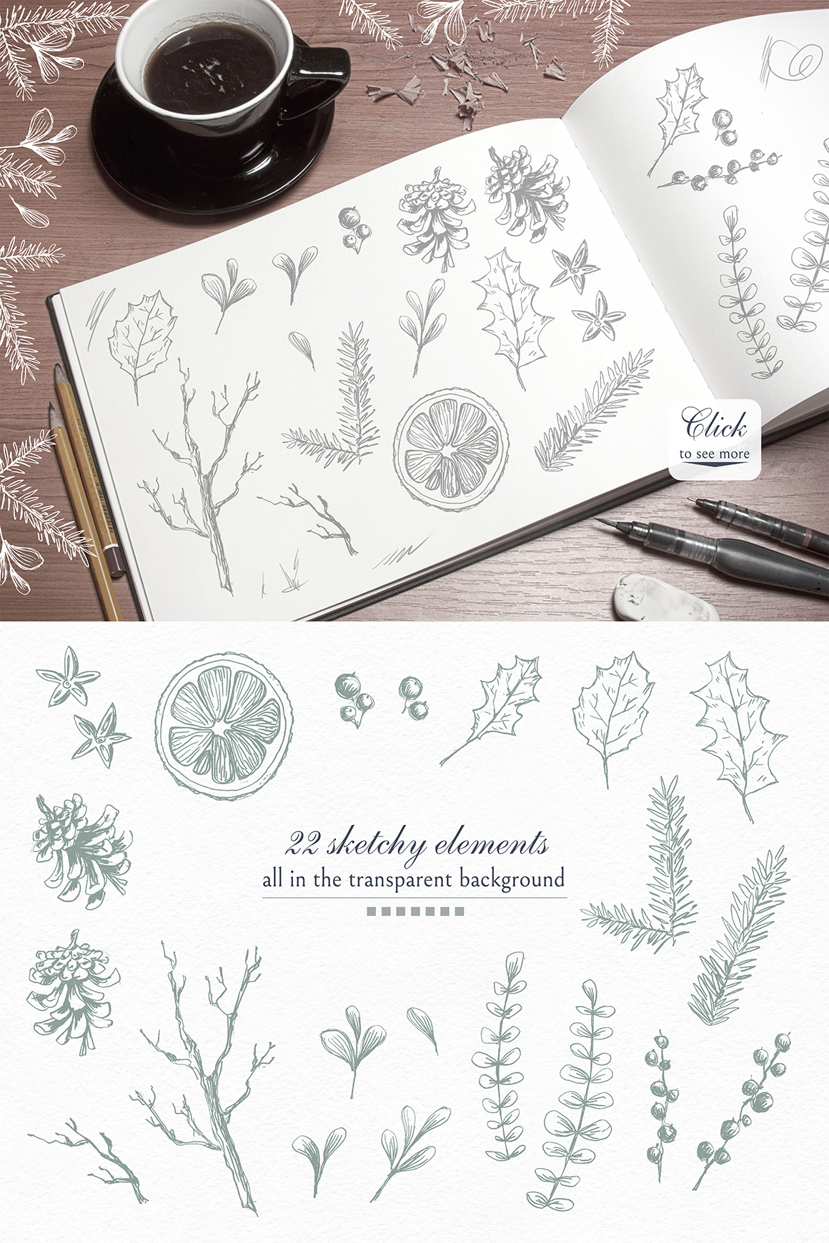 Cozy CHRISTMAS. Watercolor graphic kit. example image 8