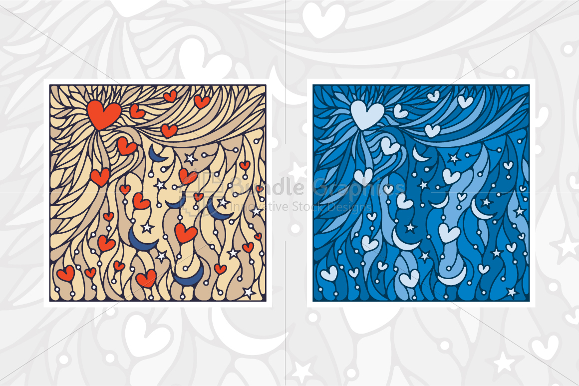 Heart and Moon Colorful Vector Background example image 2