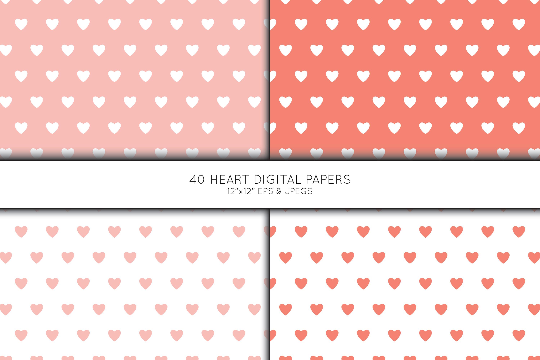 Heart Digital Paper, Heart Scrapbook paper example image 2
