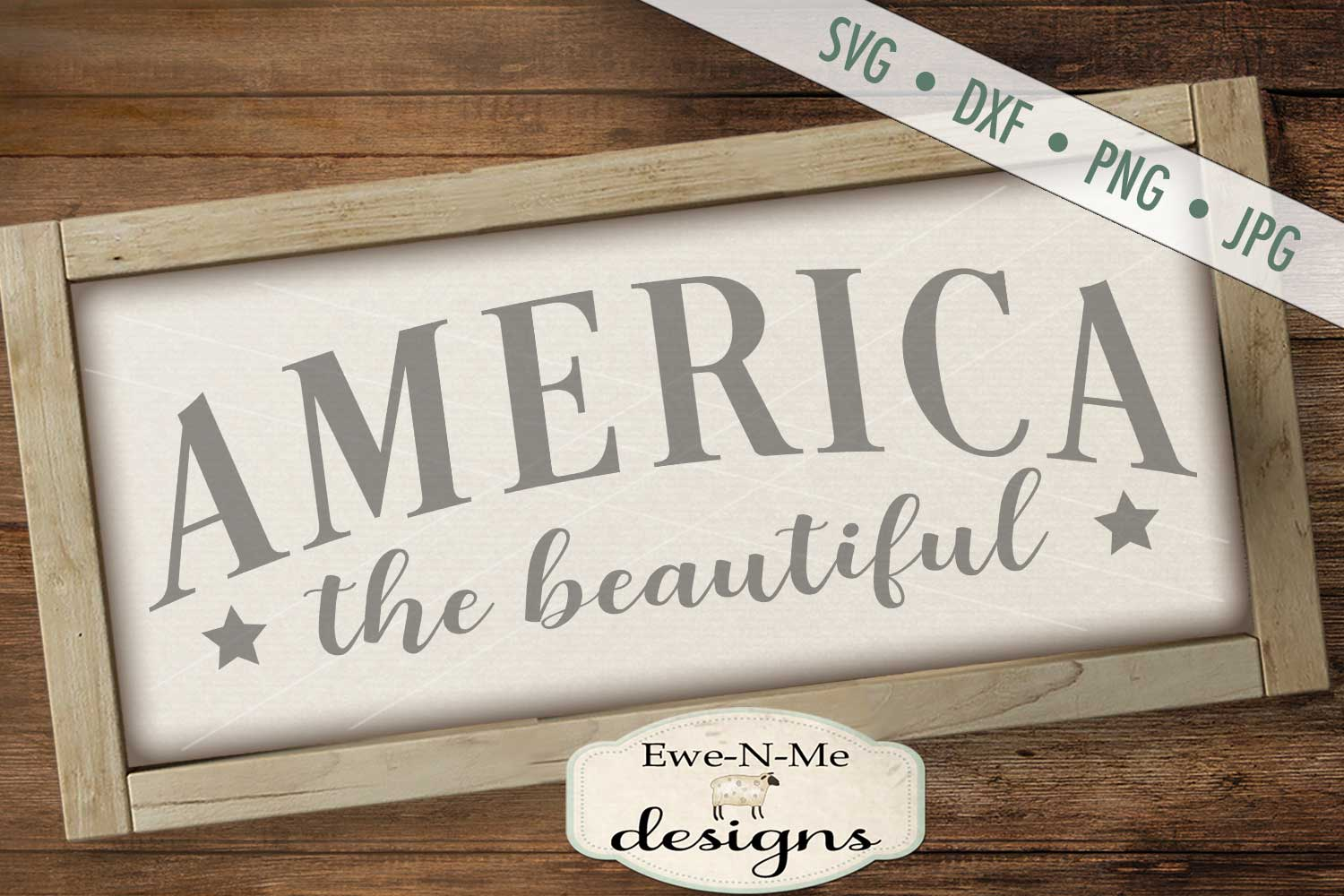 America The Beautiful Patriotic - July 4th - SVG DXF Files example image 1