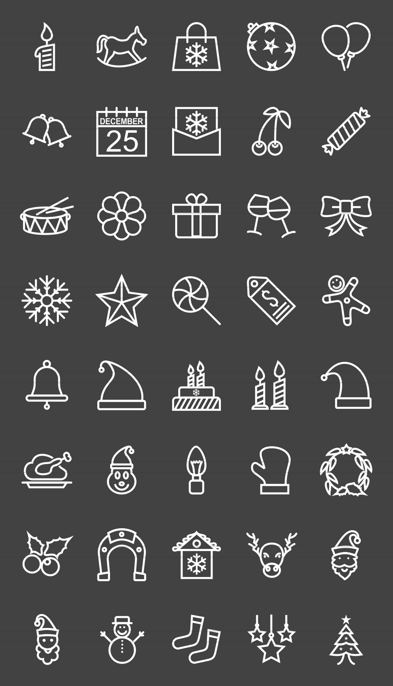 40 Christmas Line Inverted Icons example image 2