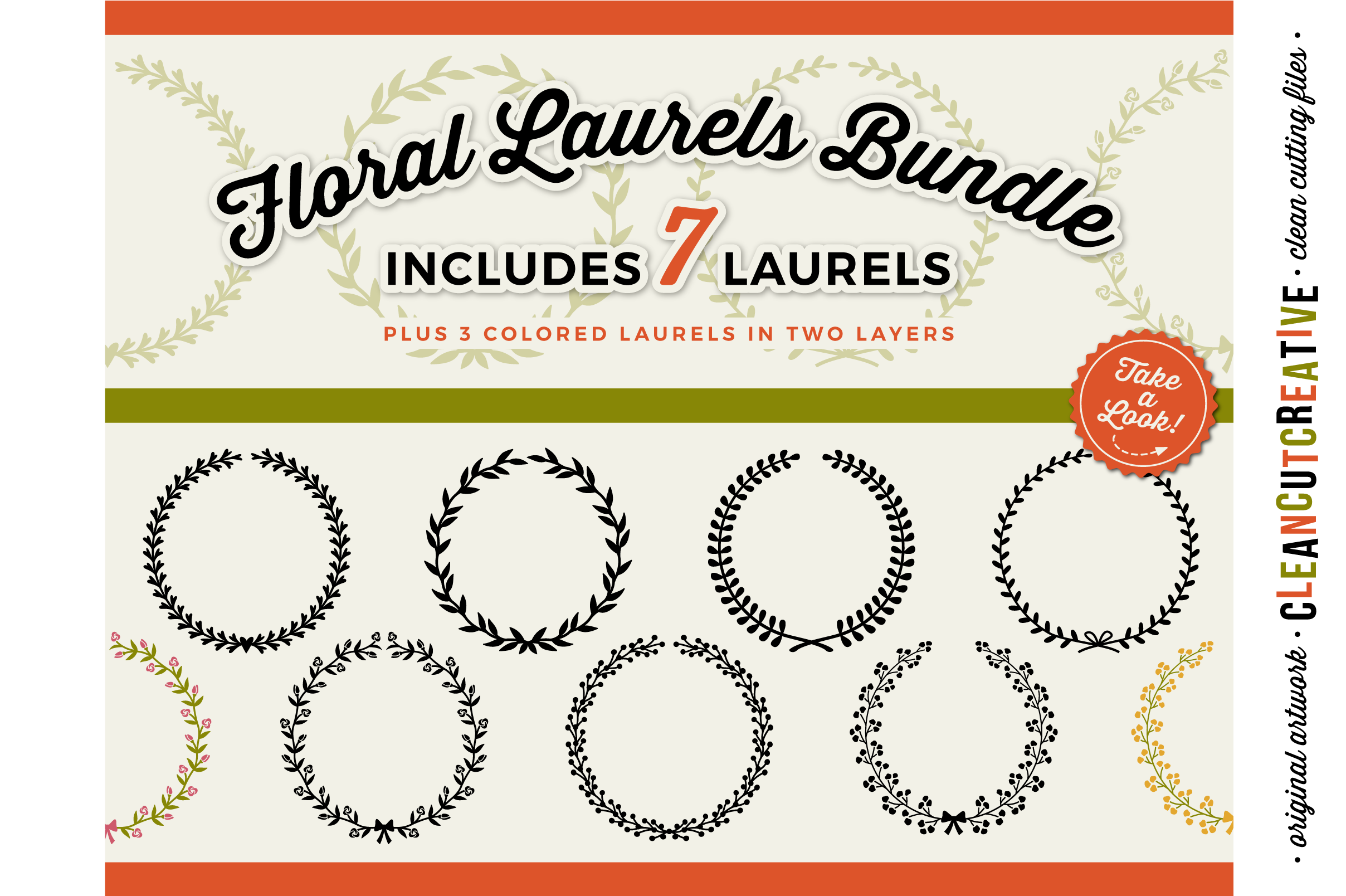 7 svg FLORAL LAURELS floral leaf circleframes - SVG DXF EPS PNG - for Cricut and Silhouette Cameo - clean cutting digital files example image 1