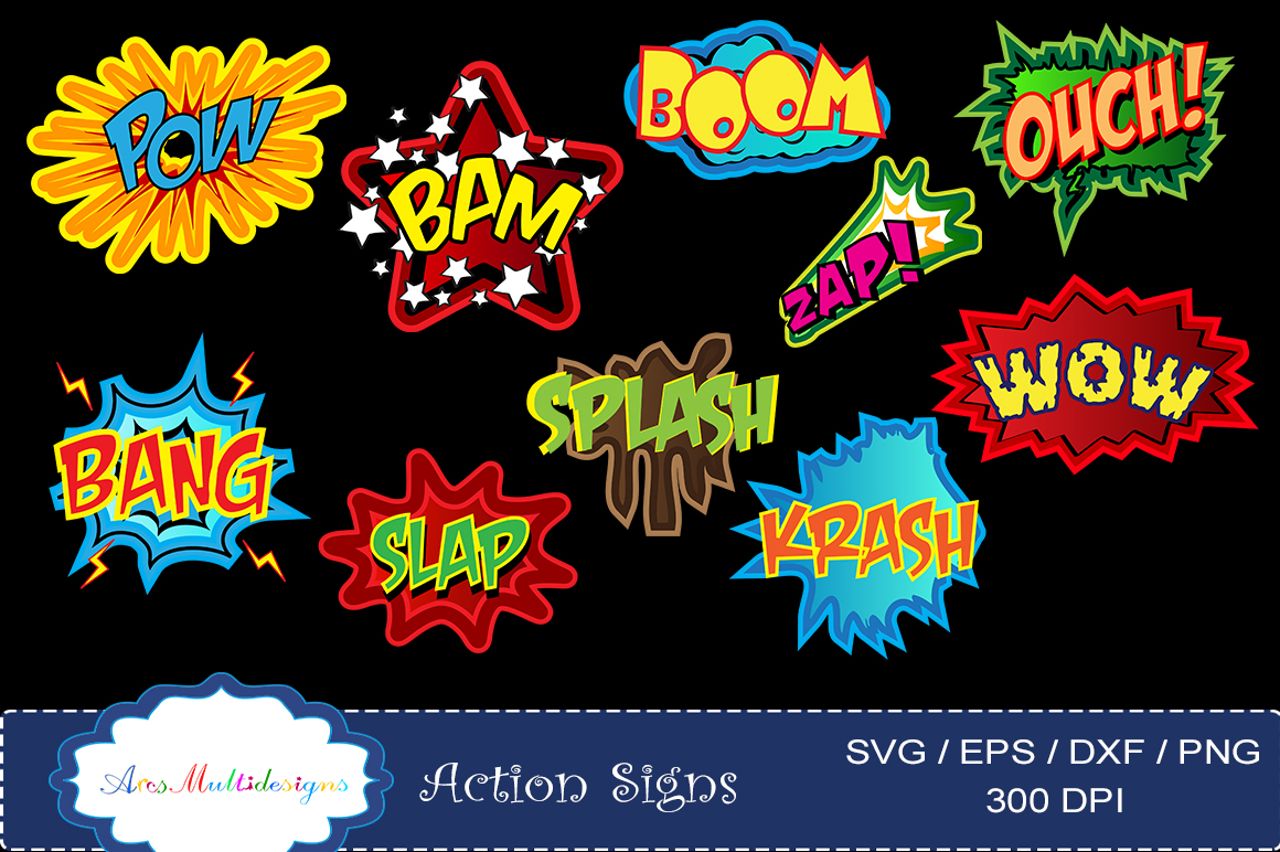 action signs svg vector clipart / action sign silhouette / zap clipart / bang clipart / pow clipart / boom clipart /pop art / comic book example image 1