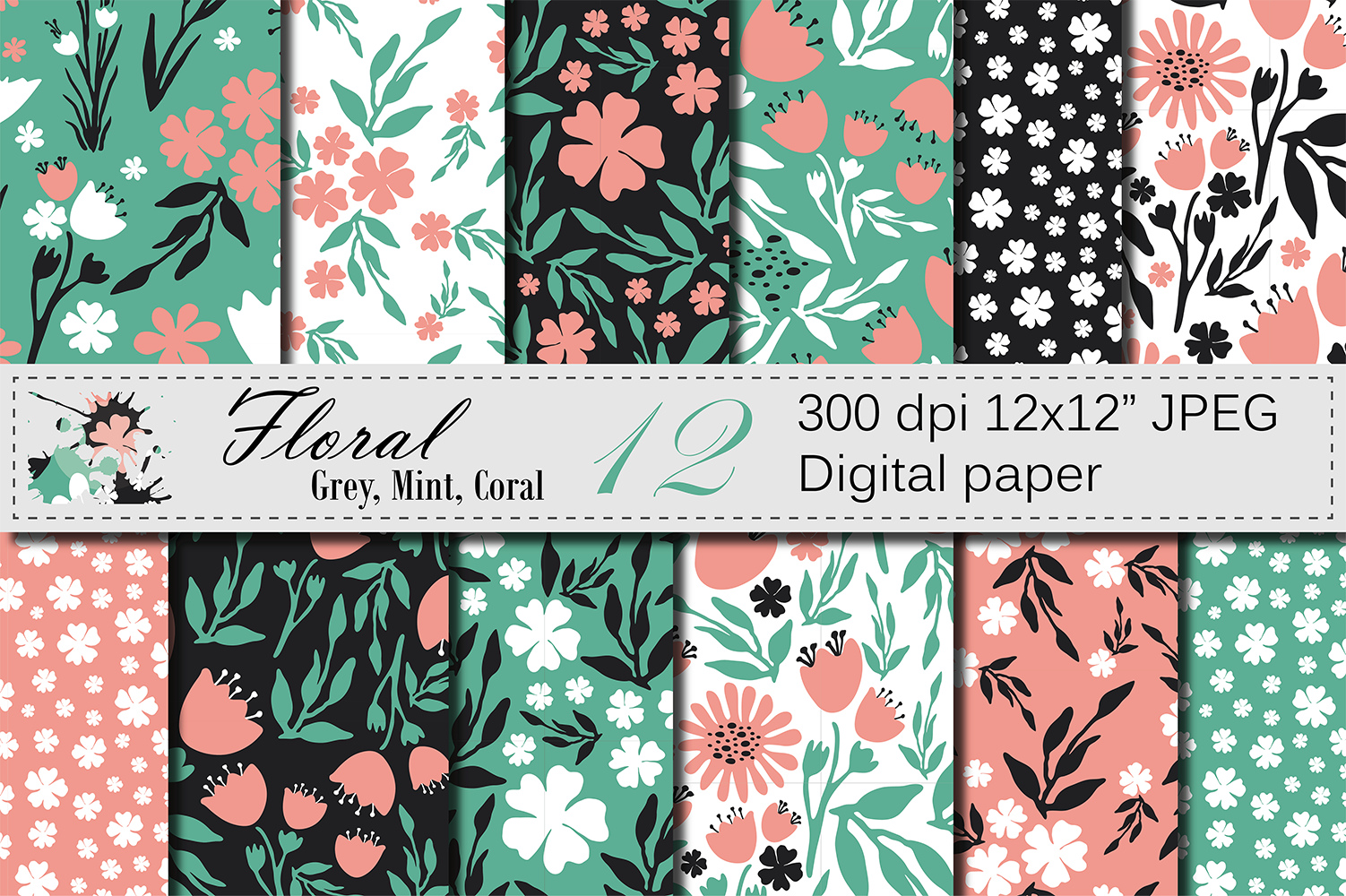 Seamless Floral Digital Paper, Hand Drawn Flowers - Gray Mint Coral example image 1