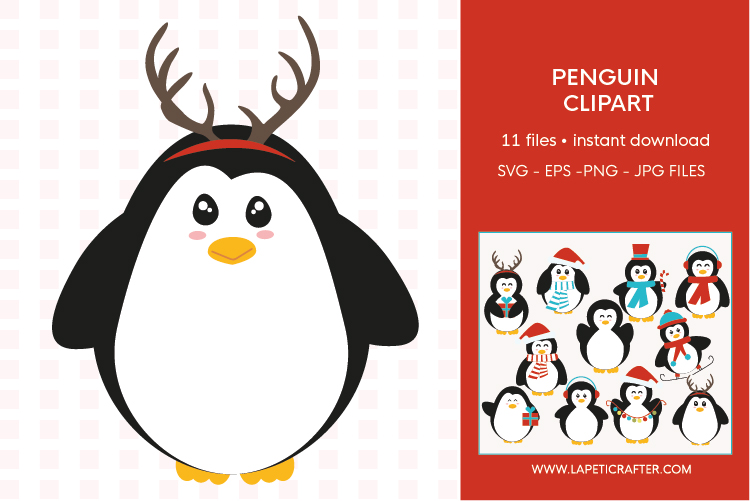 Christmas penguin clipart set, winter animals vector example image 3