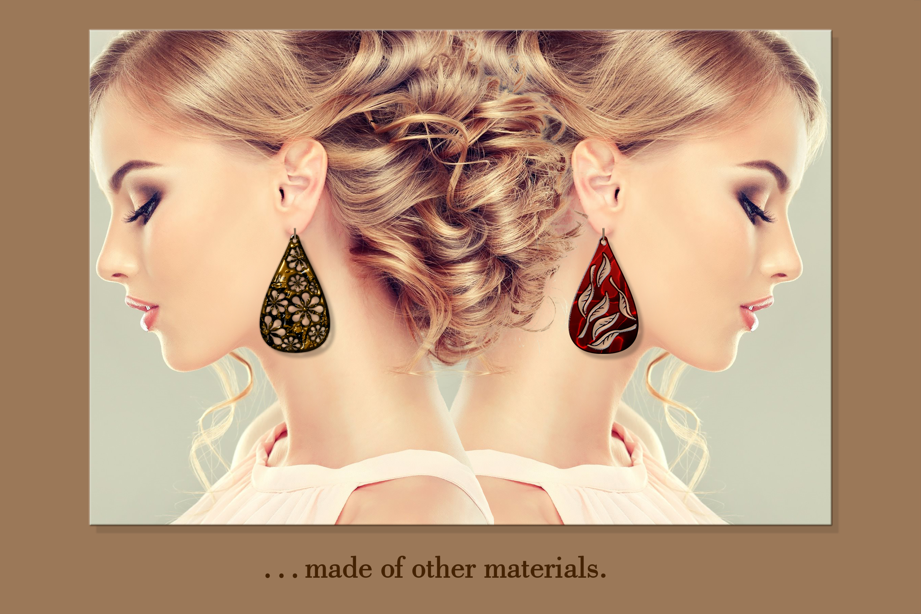 9 Leather earring svg Teardrop earring Nature earrings svg example image 4